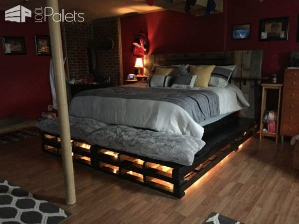 King-size Pallet Bed DIY Pallet Bedroom - Pallet Bed Frames & Pallet Headboards