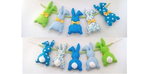 Bunny nursery garland bunny car seat toy pram toy crib by Yayuu