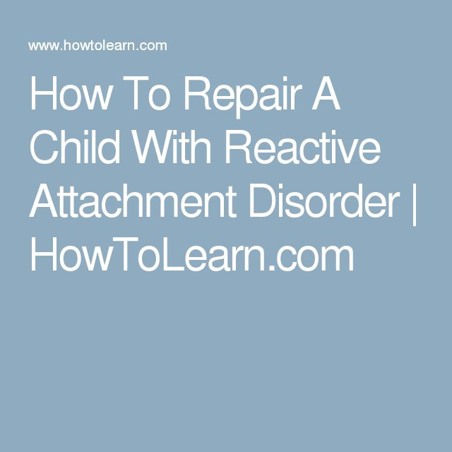 the successful rehabilitation of children with reactive attachment disorder rad Attachment therapy is an essential part of healing children with reactive attachment disorder have been successful nancy thomas parenting | attachmentorg.