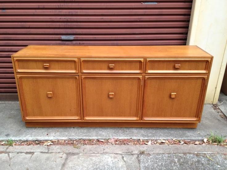 Vintage Retro Parker Furniture 3 Door 3 Drawer Sideboard Buffet Unit Danish Teak $107.50