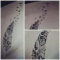 aztec / feather / birds tattoo design