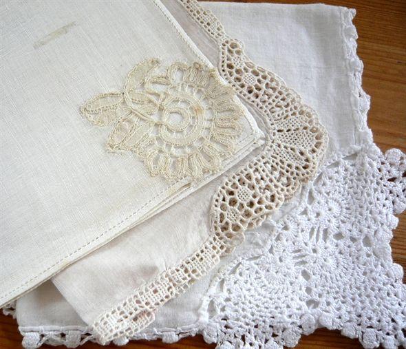 Vintage lace hankerchiefs