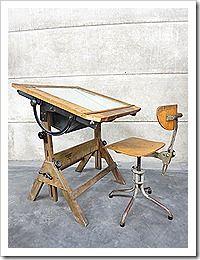 Industrial steampunk lighted drafting table Hamilton, tekentafel lichtbak tafel industrieel Hamilton vintage lamp