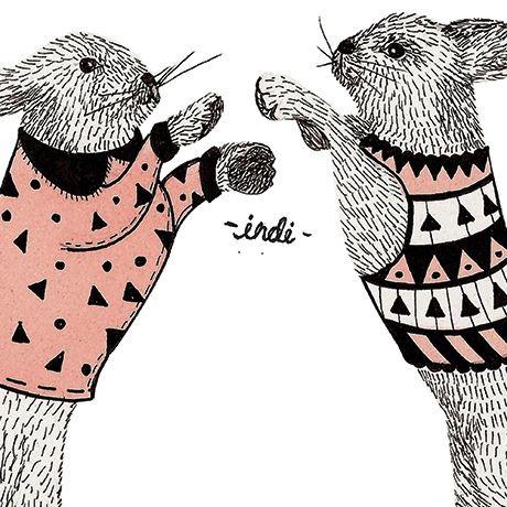 """""""Dancing Bunnies"""" es una pieza de la mexicana Indi Maverick, ilustradora y diseñadora cuya obra está influenciada por las mujeres y los animales."""
