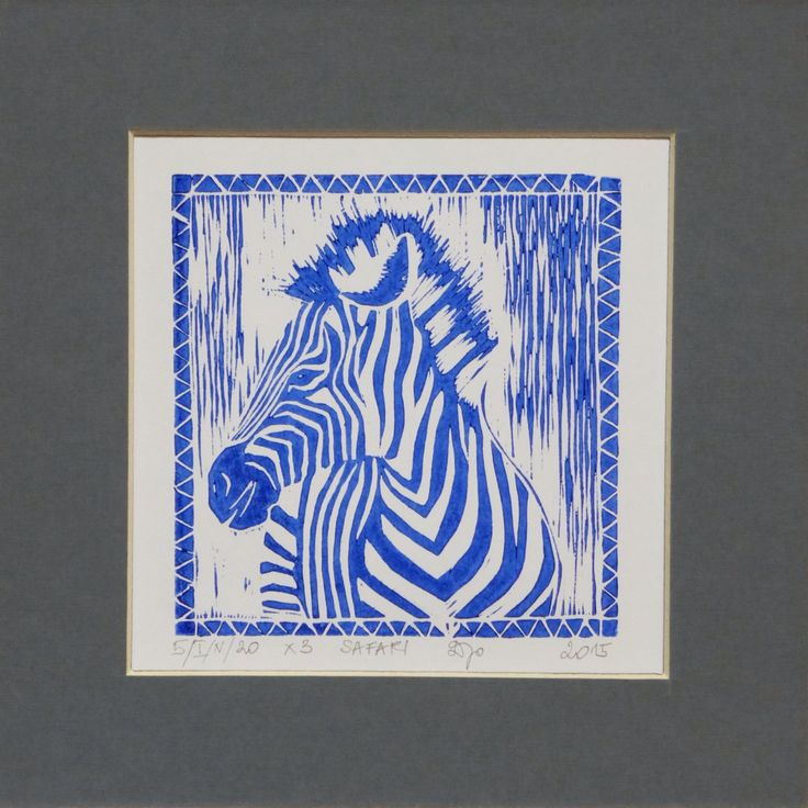 Linocut zebra - more from Safari limited edition on www.facebook.com/woodandpaperpl