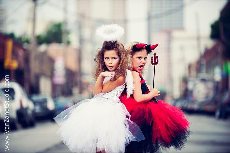 Photographer VanZandt Studios - Misti Van Zandt.  Models - Brooklyn and Kaitlyn  #kid #photographer #photography #kids #halloween #costume #idea #ideas #photoshoot #shoot #session #mini #children #tutu #devil #angel #city #urban #fashion