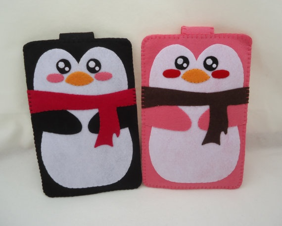 iPhone Case - Cell Phone Case - iPhone 4 Case - iPod Case - iPod Touch Case - Handmade Felt Case - Penguin Design