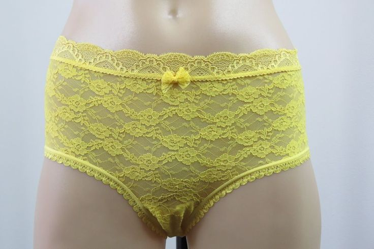 NWT Size  XL 16 Ladies Yellow BoyLeg Briefs Panties Underwear Lace Fun Lingerie  #HotOptions #Boyshorts #Glamour