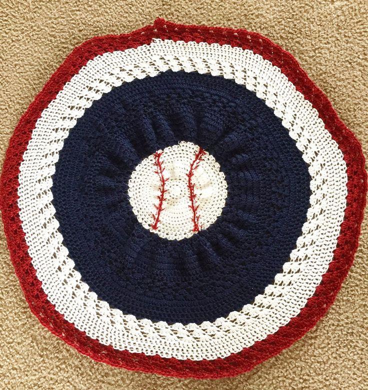Crochet baseball baby blanket