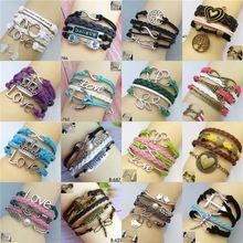 Girl módní šperky Vintage láska Crown Kovové Kožené náramek Multilayer Rope náramky Wrap Náramky Velkoobchod náramek (Čína (pevninská část))
