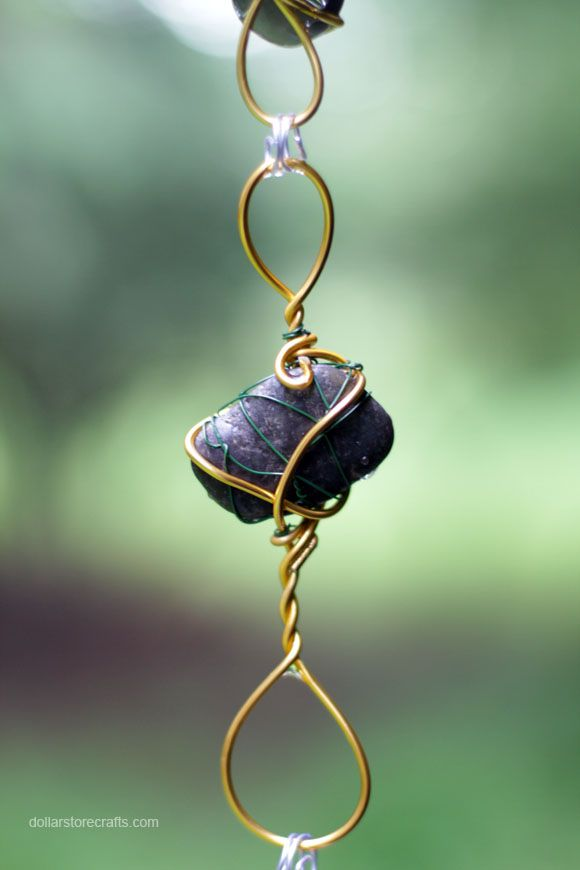 Wire-wrapped rocks into rain chain - it's jewelry for your house!