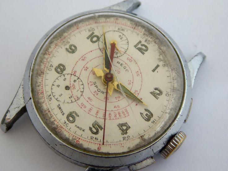 Vintage 1950s Swiss R. Lapanouse S.A. Gents Chronograph Wrist Watch Restoration Project - The Collectors Bag