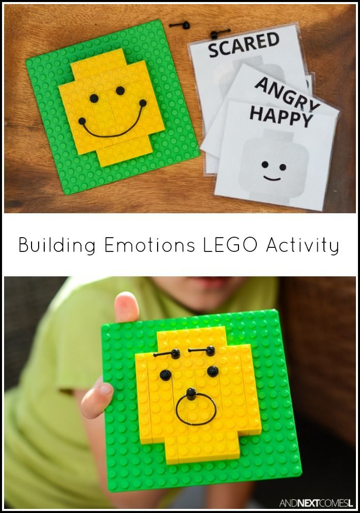 Building emotions LEGO activity for kids - great for developing fine motor skills from And Next Comes L