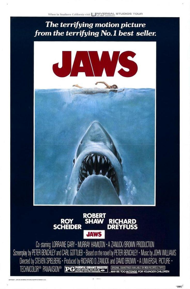 """Jaws"" (1975). COUNTRY: United States. DIRECTOR: Steven Spielberg. SCREENWRITER: Peter Benchley, Carl Gottlieb (Novel: Peter Bentchley). CAST: Roy Scheider, Robert Shaw, Richard Dreyfuss, Lorraine Gary, Murray Hamilton, Carl Gottlieb, Jeffrey C. Kramer"