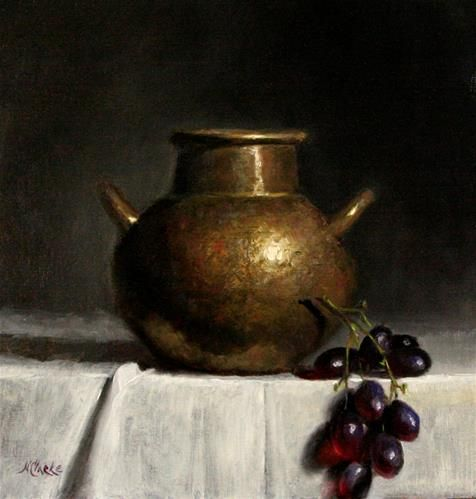 Daily Paintworks Quot Still Life With Old Hammered Copper Pot And Grapes Quot Original Fine Art For