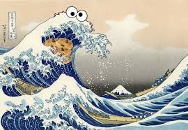 Image result for japanese wave cookie monster