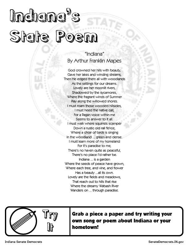 """Indiana's state poem: """"Indiana"""" by Arthur Franklin Mapes. From SenateDemocrats.IN.gov"""
