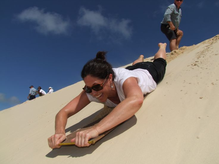Sand boardinh @ te paki sand dunes - New zealand