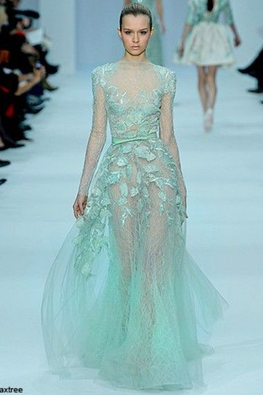 Elie Saab Light Blue Wedding Gown Lace Sheer Wedding