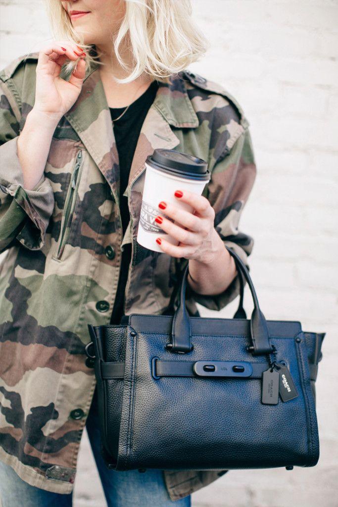 camo jacket for fall street style via Anne Sage