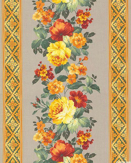 Estate Gardens - Rose Garland Stripe - Warm Gray