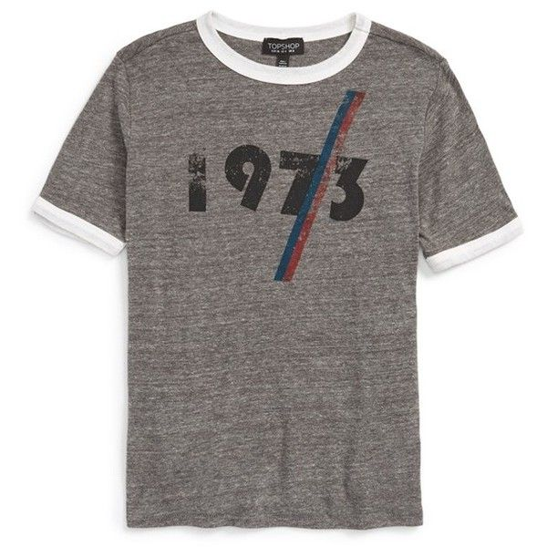 Topshop '1973' Ringer Tee (£21) ❤ liked on Polyvore featuring tops, t-shirts, grey multi, short sleeve graphic tees, crew neck tee, vintage t shirts, vintage retro t shirts and vintage tees