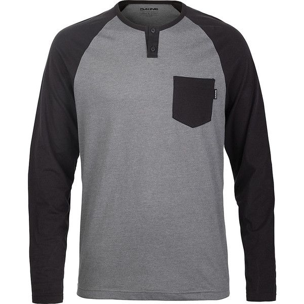 DAKINE Mens Phoenix Long Sleeve Henley Shirt - L - Castlerock - Men's... ($34) ❤ liked on Polyvore featuring men's fashion, men's clothing, men's shirts, men's casual shirts, grey, mens grey shirt, mens gray dress shirt, mens henley shirts, mens raglan shirts and mens raglan sleeve shirts