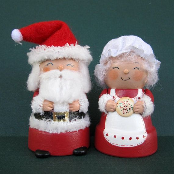 Beautiful Mrs Claus Christmas Decorations Part - 10: Santa And Mrs. Claus Flowerpot Bell Decorations By Sanquicreations, $19.98