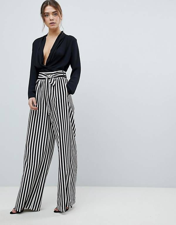 1b0611f8bd36 Boohoo Tie Waist Striped Wide Leg Pants Like these pants with cropped band  tee