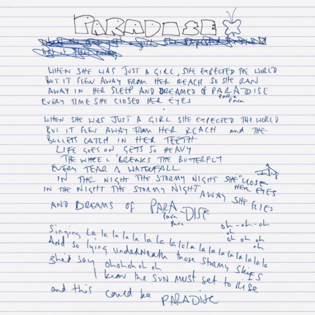 "Chris's handwritten lyrics of ""Coldplay - Paradise"" gave me chills"