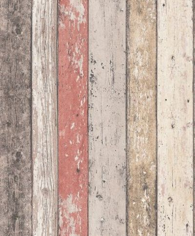 Wood panelling (8951-27) - Albany Wallpapers - A richly detailed Scandinavian panelled wood effect design - with the look of distressed and faded wood in pale natural colours. Shown here with red detail too. Please request sample for true colour match. Paste the wall.