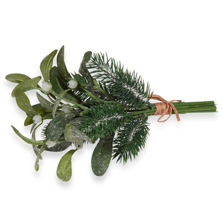 Bouquet of frosted artificial mistletoe and pine