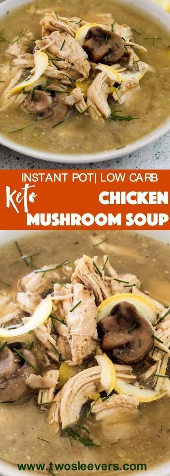 Pressure Cooker Low Carb Keto Chicken Mushroom soup recipe is one of those great comfort food recipes that requires you to do little beyond dump and cook in your Instant Pot or Pressure cooker. via @twosleevers