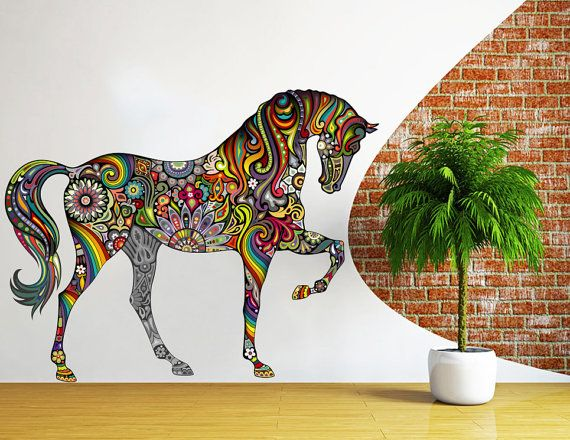 Abstract Horse Wall Decal Full Color Horse Decal Colorful Floral Patterns Horses…