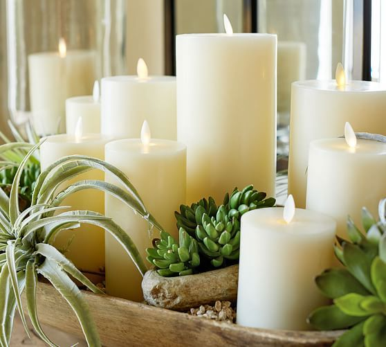 Premium Flickering Flameless Wax Pillar Candle - Ivory | Pottery Barn