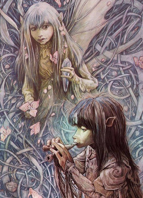 Illustration of Kira and Jen (the Gelflings) in the film The Dark Crystal