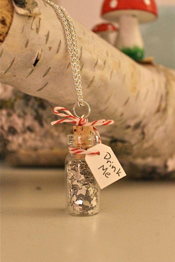 Silver Glitter Drink Me Bottle Necklace
