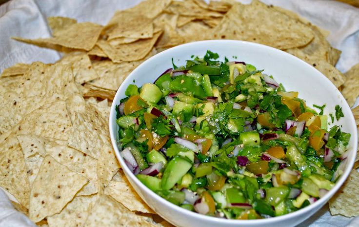 Tomatillo-Avocado Salsa With Tortilla Chips Recipe — Dishmaps