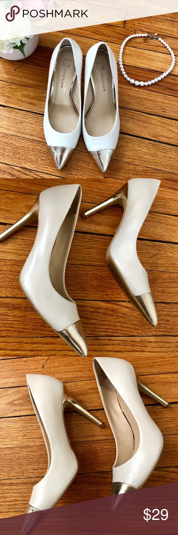 Anne Klein 7.0 White and Gold Heels Gently used white and gold heels - beautiful for a wedding or everyday wear!  A few minor scuffs noted in photos. Anne Klein Shoes Heels