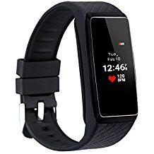 Inchor Wristfit HR - Impermeable Ajustable Smartwatch Reloj de Pulsera Android IOS (Pantalla OLED, Bluetooth, Ritmo Cardíaco, Podómetro, Monitor del Sueño, Recordatorio de Llamada y Mensaje) (Negro)