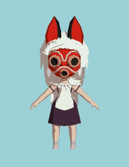【Gif】回転する「もののけ姫」キャラクター