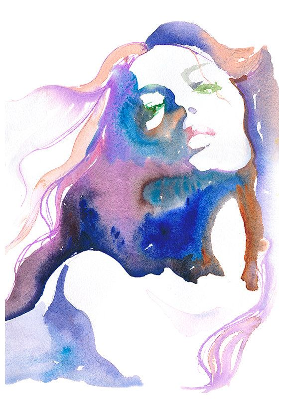 Large Canvas Giclee Prints from Original Watercolour Painting, Fashion Illustration. Titled - Magique