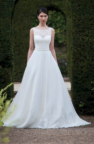 Augusta Jones :: Illusion A-Line Wedding Dress with Natural Waist in Lace. Bridal Gown Style Number:32965907