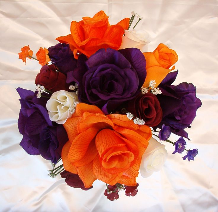 wedding flowers cascading in white, plum and orange   tl17 bridesmaid round bouquet approx 8 9 w orange purple