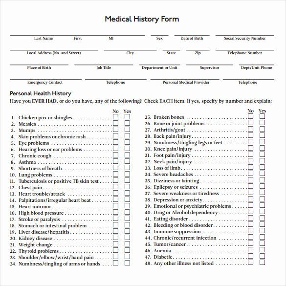 Personal Medical History Form Template Unique 8 Medical History Forms Medical History Health History Health History Form