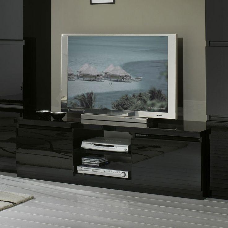 Meuble TV noir laqué design SANY