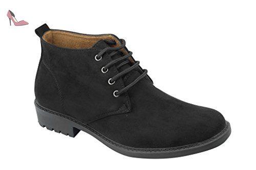 Homme Noir Brun Bleu Smart Casual Chukka désert en imitation daim hiver cheville bottes chaussures taille UK - Noir - noir, - Chaussures xposed (*Partner-Link)