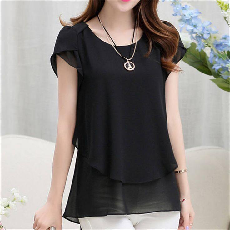 Soperwillton 2016 New Summer Women Blouse Loose Shirt O-Neck Chiffon Blouse Female Short Sleeve Blouse Plus Size 5XL Shirts D378