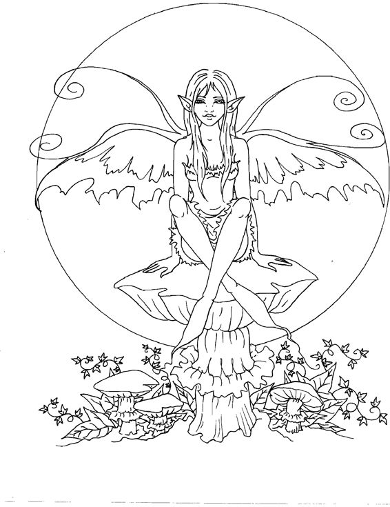 free advanced fairy coloring pages - photo#22