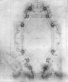 F. Borromini, San Carlo alle Quattro Fontane, ground plan, Albertina, Az.Rom.175